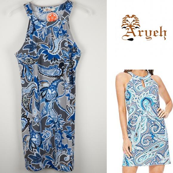 Aryeh Dresses & Skirts - Aryeh Paisley Blue Grey Dress Sleeveless NWT Large